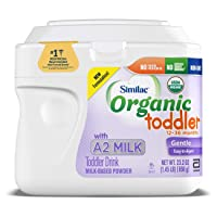 Similac Organic Toddler Drink with A2 Milk, First & Only USDA Organic Toddler Drink Made with A2 Milk, Gentle and Easy to Digest, Supports Brain and Eye Health, Powder, 1.45-lb Tub