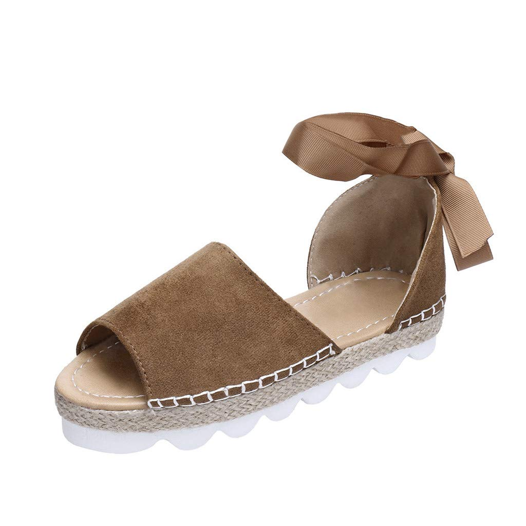 ℱLOVESOOℱ Flock Sandals for Women, Thick Bottom Cross Tied Flatform Sandals Fashion Ankle Strap Open Toe Sandals Shoes Khaki by ℱLOVESOOℱ