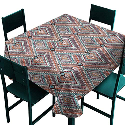 DONEECKL Oil-Proof and Leak-Proof Tablecloth Tribal Diagonal Ethno Pattern Easy to Clean W54 xL54