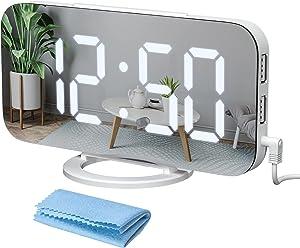 Qoosea Digital Alarm Clock for Bedroom 7 inch LED Display Mirror Alarm Clock Kids with Light Sensing 2 USB Charging Ports Big Snooze Button for Bedroom Living Room Home Decor