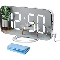 Qoosea Digital Alarm Clock for Bedroom 7 inch LED Display Mirror Alarm Clock Kids with Light Sensing 2 USB Charging…