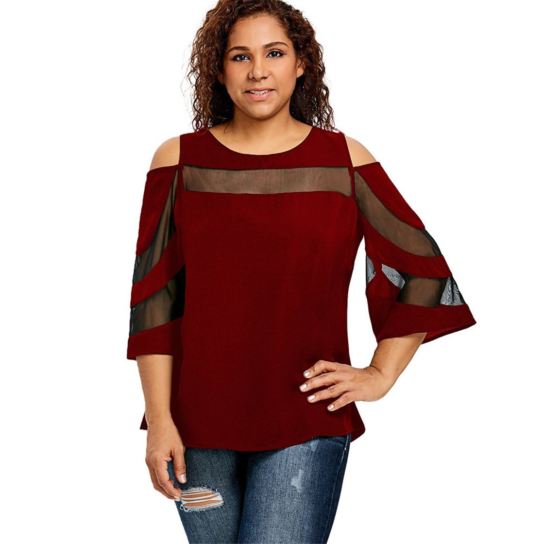 Mose Plus Size Women Clothes, Women's Strapless Cutout Tops Cold Shoulder Long Sleeve Sweatshirt Pullover T-Shirt Casual Fashion New Blouse (L3, Wine)