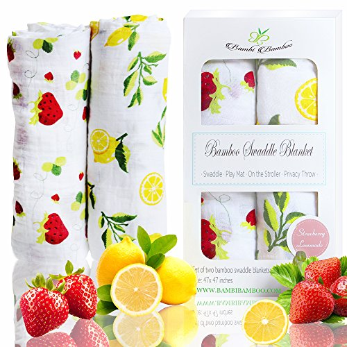 Softest Bamboo Baby Muslin Swaddle Blankets, Strawberry Lemon Collection, Extra Large Unisex Breathable Ultra Soft, 47x47 inches, Perfect Baby Shower - Bedding Crib Bamboo