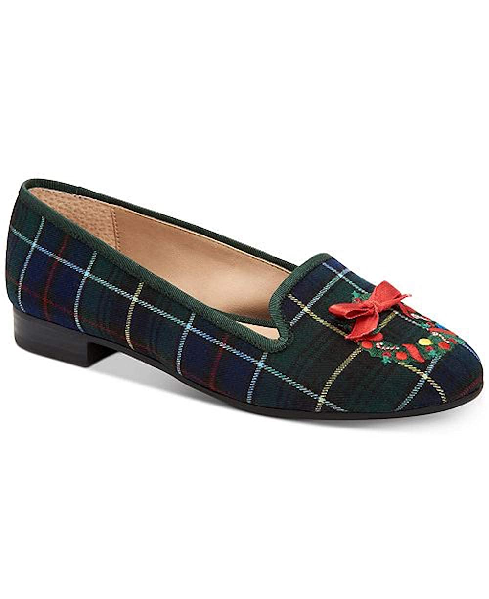 Navy Plaid Charter Club CC35 Femmiie Front Bow Slip On Loafer Flats, Black