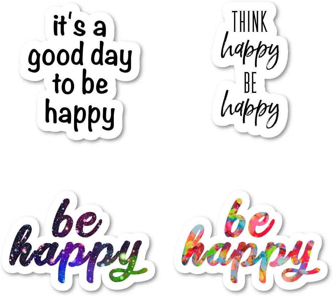 Be Happy Think Happy Sticker Pack Inspirational Quotes Stickers - 4 Pack - Laptop Stickers - for Laptop, Phone, Tablet Vinyl Decal Sticker (4 Pack) S211238