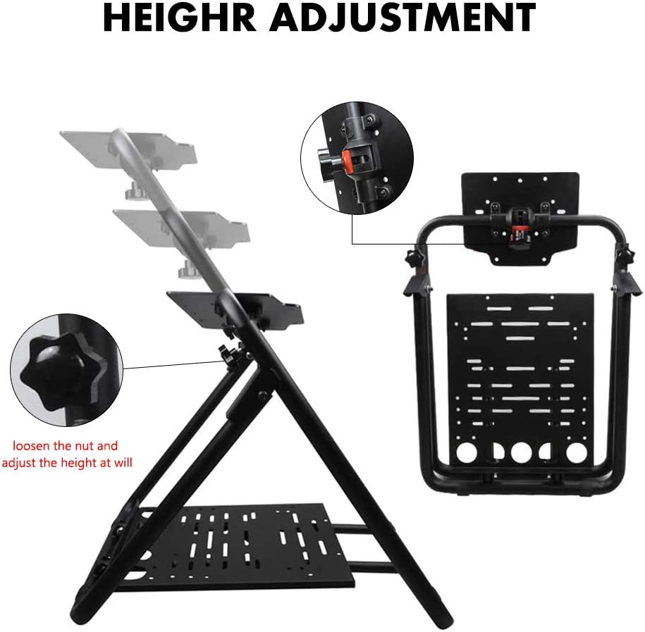 upshop1st Racing Wheel Stand fit for Logitech G25/G27/G29/G920 Most Thrustmaster Gaming Steering Wheel, Xbox360/One, Playstation, PC Platforms, Foldable & Height Adjustable for Racing Console: Electronics
