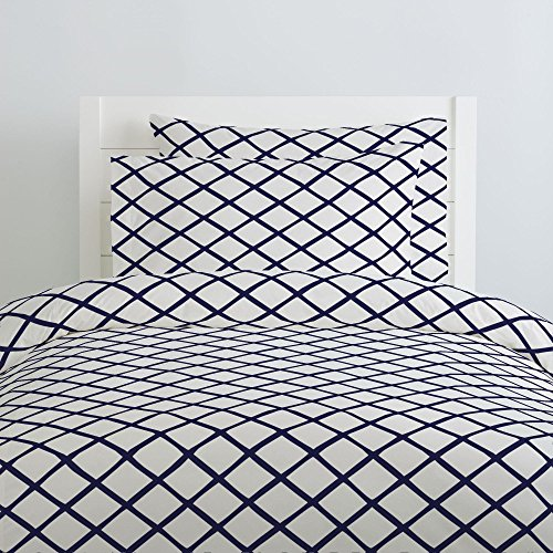 (Carousel Designs Windsor Navy Trellis Duvet Cover Twin Size - Organic 100% Cotton Duvet Cover - Made in The USA)