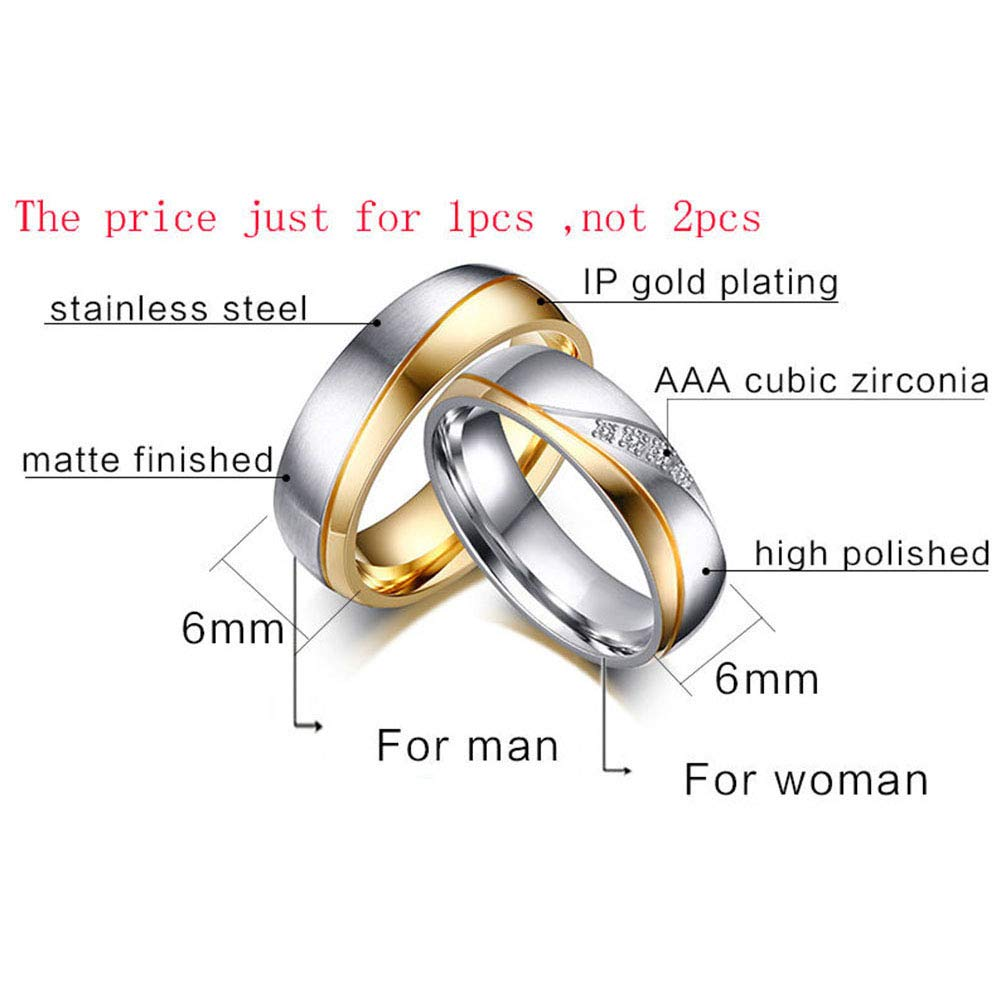 Acamifashion Fashion Gold Plated Titanium Steel Lover Ring Wedding Band Bridal Jewelry Gift