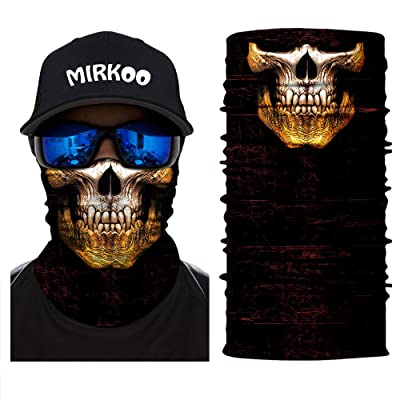 MIRKOO Outdoor 3D Skull Ski Tube Half Face Mask, Dust-proof Windproof UV Protection Motorcycle Bicycle Riding ATV Face Mask for Motorcycling Cycling Hiking Camping Climbing Fishing Hunting(SFM-757): Automotive
