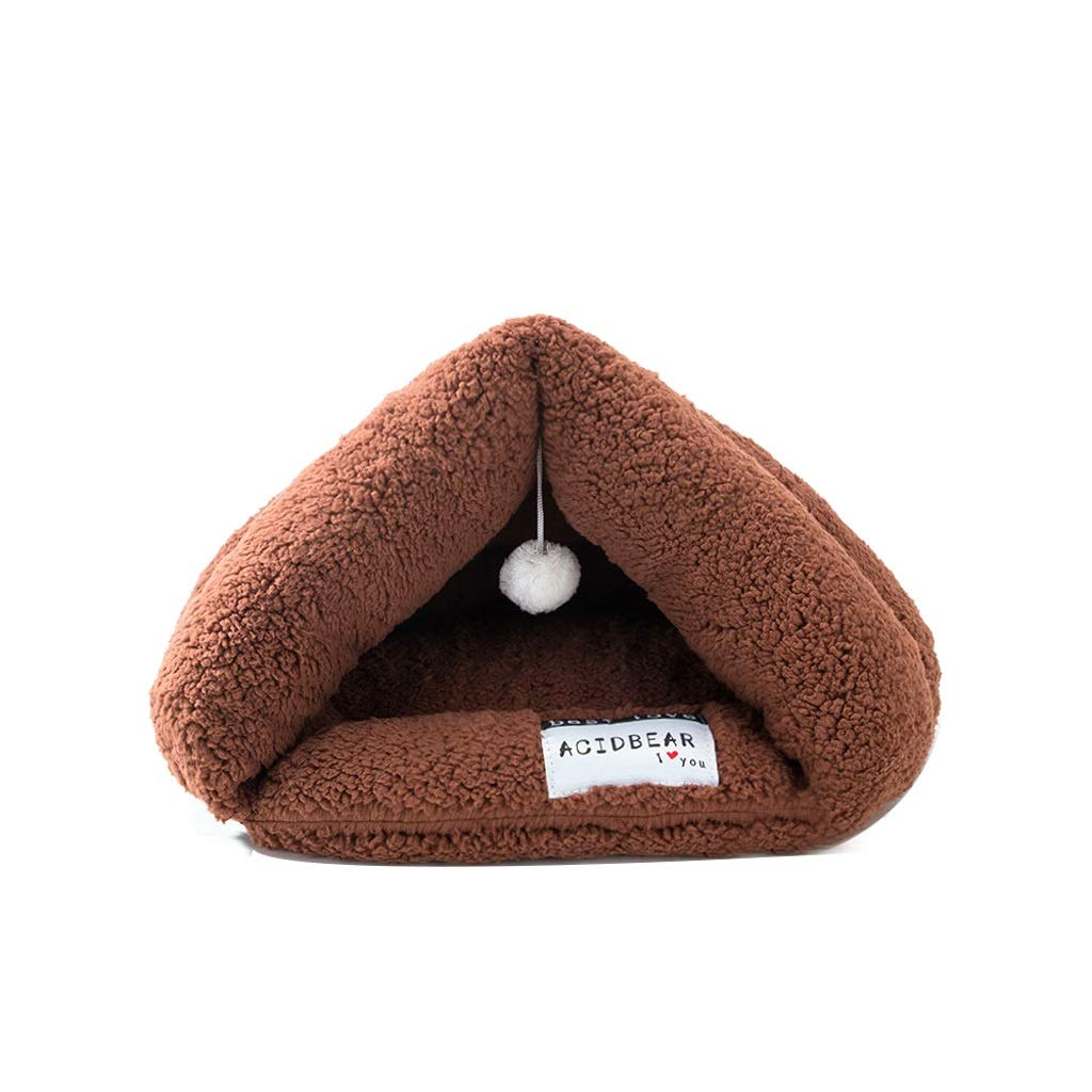 Chocolate L Chocolate L TLTLCWW Cat Bed, Closed Four Seasons Available Pet Bed Small Cat Dog Universal Cat Sleeping Bag (color   Chocolate, Size   L)