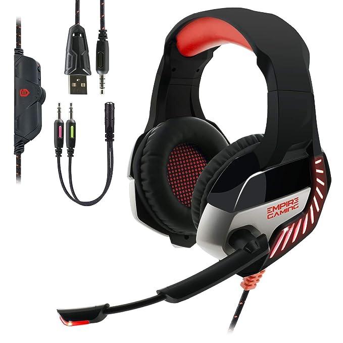 EMPIRE GAMING - Auriculares Gaming H1200 para PC, MAC, Auriculares Gamer para PS4, Nintendo Switch y XBOX One – Estéreo de alta calidad – Micrófono con tecnología de reducción de ruido
