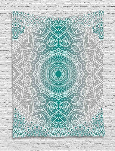 Ambesonne Grey and Teal Tapestry, Mandala Ombre Sacred Geometry Occult Pattern with Flower Lines Display Artwork, Wall Hanging for Bedroom Living Room Dorm, 40 W X 60 L Inches, Teal Grey