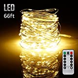 66ft 200LEDs Fairy String Lights Dimmable with Remote Control, Waterproof Copper Wire Firefly