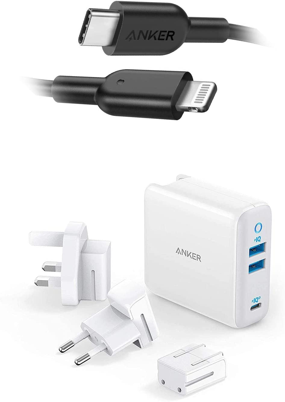 iPhone 11 Charger, Anker USB C to Lightning Cable [6ft Apple MFi Certified] Powerline II and Anker 65W 3 Port PIQ 3.0&GaN Type-C Charger