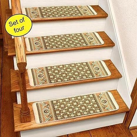 Merveilleux Ivory Rug Carpet Stair Treads Set Of 4 CST260I,White,26W X 8 3