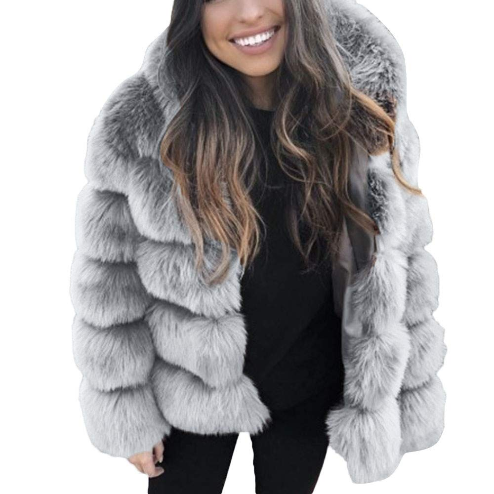 Wokasun.JJ Women Mink Coats Winter Hooded New Faux Fur Jacket Warm Thick Outerwear Jacket Gray S