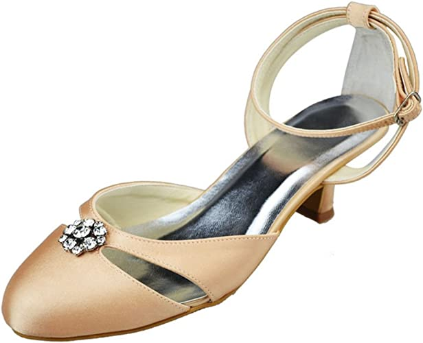 Minishion GYMZ636 Womens Open Toe Stiletto High Heel Satin Bridal Wedding Shoes
