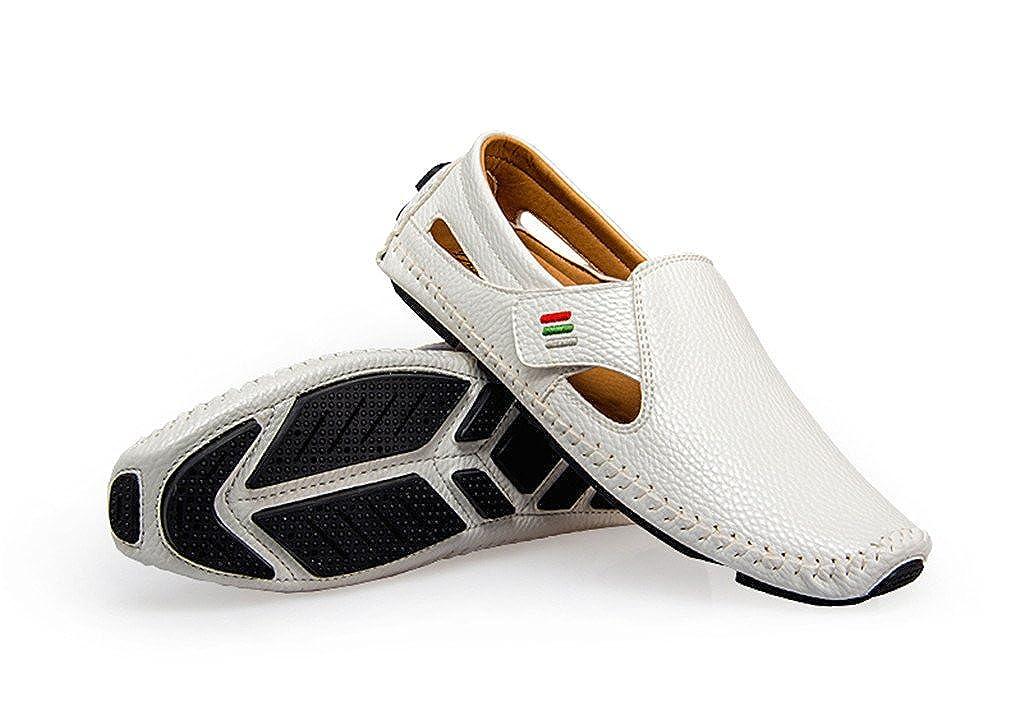 Mocasines de moda para hombres Caminar verano transpirable Zapatos casuales Hombres Hook & Loop Barcos de conducción Zapatos de los hombres Planos: ...