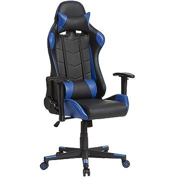 VS Venta-stock Sillón de Oficina Gaming Racer Profesional Azul, Silla con Reposacabeza Apoyo