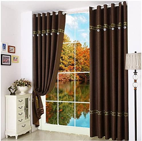 ZHH Solid Color Blackout Curtains Thermal Insulating Window Curtain Dark Brown Fashion Panel for Living Room Window Bedroom, 60-Inch Wide by 100-Inch Long, 1 Panel