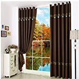 ZHH 39 by 78-Inches (Single Panel) Linen Bedroom Blackout Window Curtain,Brown Color