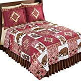 Collections Etc Southwest Bedding Reversible Quilt with Woodland Bears, Acorns, Aztec Patterns, Burgundy, Brown, Taupe, Red Multi, Twin