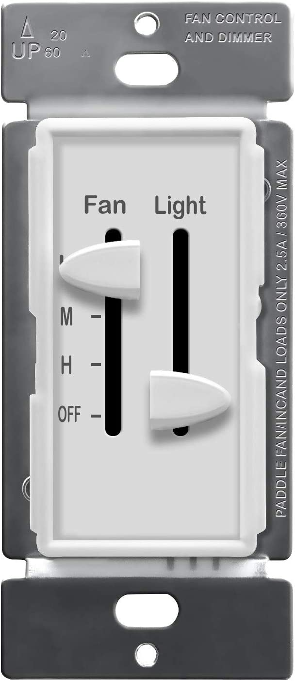 ENERLITES 3 Speed Ceiling Fan Control and LED Dimmer Light Switch, 2.5A Single Pole Light Fan Switch, 300W Incandescent Load, No Neutral Wire Required, 17001-F3-W, White