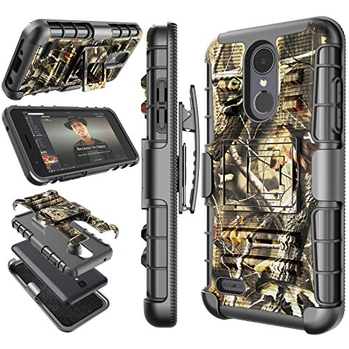 LG Aristo 2 Case, LG Tribute Dynasty / LV3 2018 / X210 Holster Clip, Tekcoo [Hoplite] Shock Absorbing [Leaf Camo] Swivel Locking Belt Defender Full Body Kickstand Carrying Armor Camouflage Cases Cover