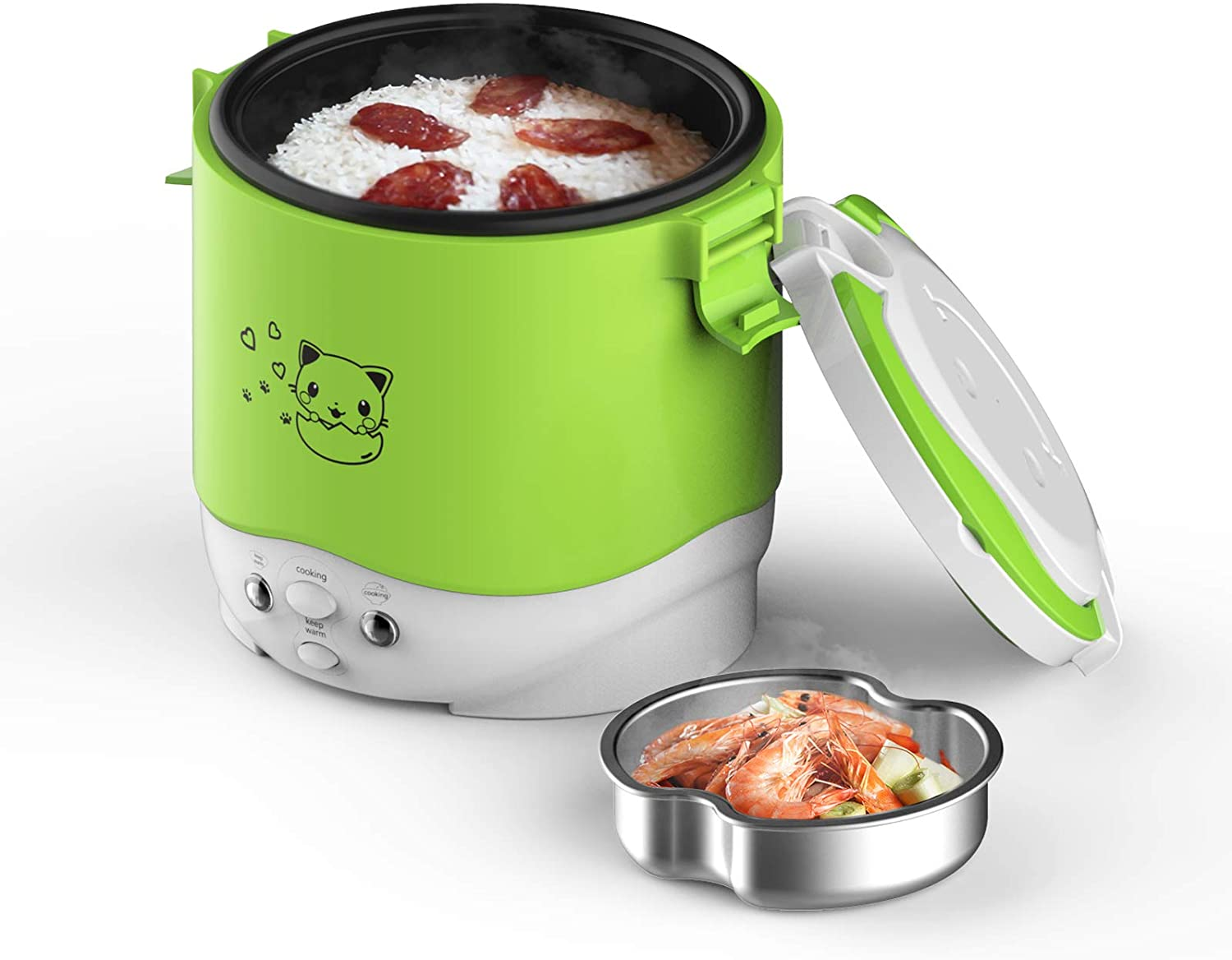 Electric Lunch Box, 1L Travel Rice Cooker Small 12V For Car, Cooking For Soup Porridge and Rice, Cooking Heating and Keeping Warm Function(Green)