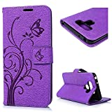 LG G6 Case, Embossed Floral Butterfly Flip \Wallet Case Premium PU Leather Soft TPU Inner Bumper Kickstand Wrist Strap Card Slots Protective Cover for LG G6 with Dust Plug & Pen - Purple