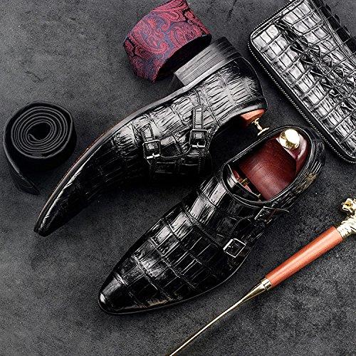 Pointed Oxfords Toe Men HANMCE Black Wedding Shoes Business Genuine Buckle Monk Shoes Leather Zorgen w4T6P0xq