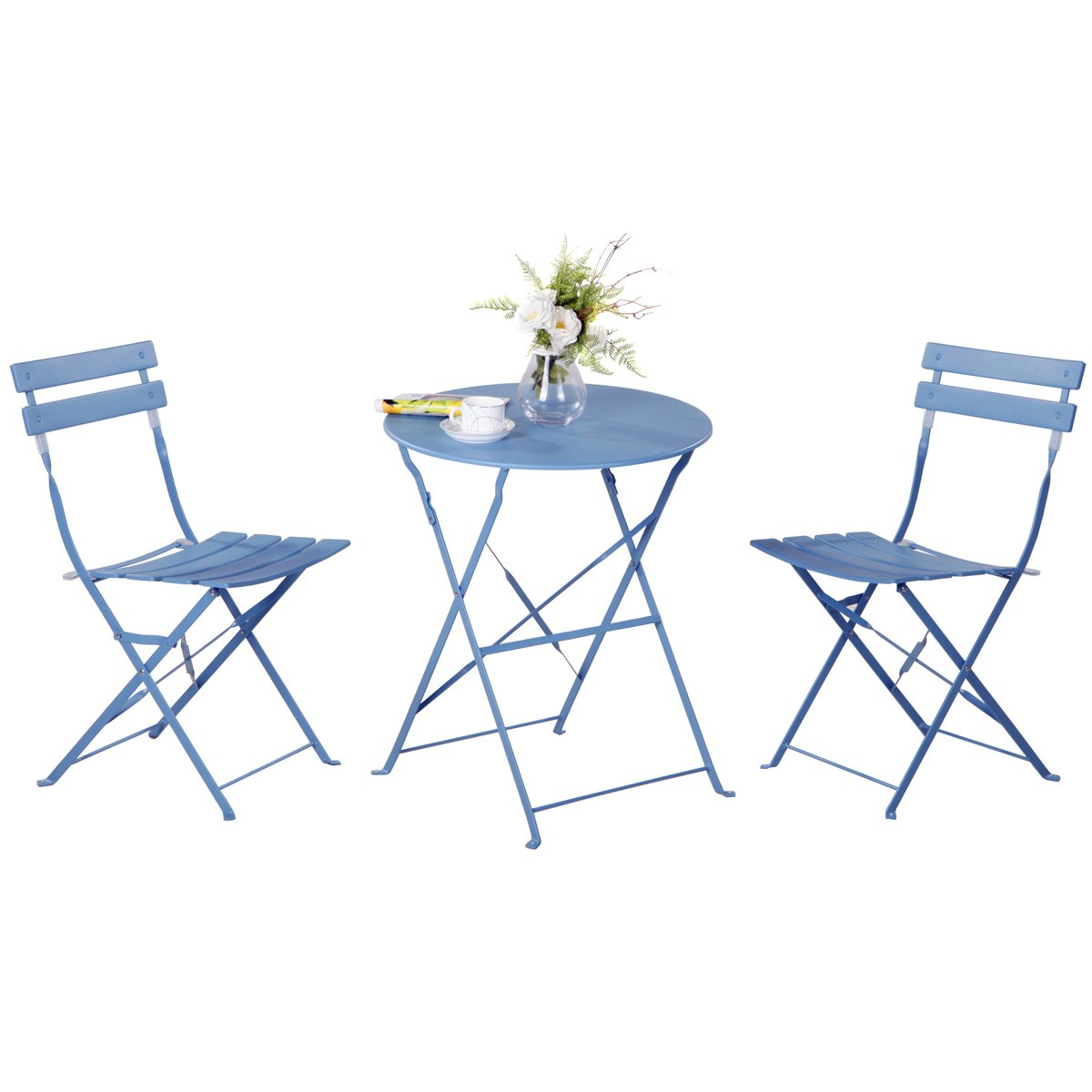 Amazon com grand patio premium steel patio bistro set folding outdoor patio furniture sets 3 piece patio set of foldable patio table and chairs blue