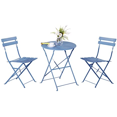 Grand Patio Conjunto de Mesa y sillas Plegables para Exterior, Ideal para balcón o jardín, de Acero Inoxidable (1pc Mesa + 2pcs Sillas), Azul