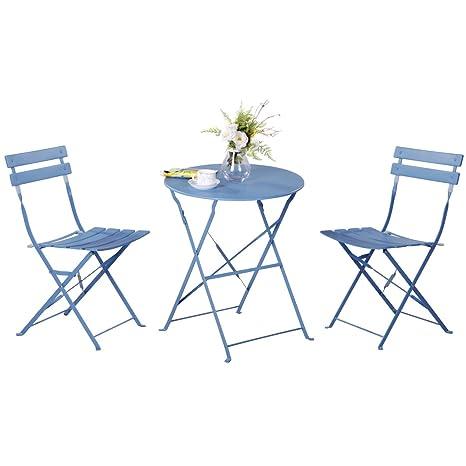 Grand Patio Conjunto de Mesa y sillas Plegables para Exterior, Ideal para balcón o jardín, de Acero Inoxidable (1pc Mesa + 2pcs Sillas), Azul