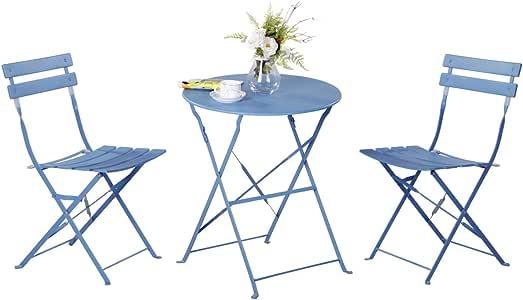 Grand Patio Conjunto de Mesa y sillas Plegables para Exterior, Ideal para balcón o jardín, de Acero Inoxidable (1pc Mesa + 2pcs Sillas), Azul: Amazon.es: Jardín