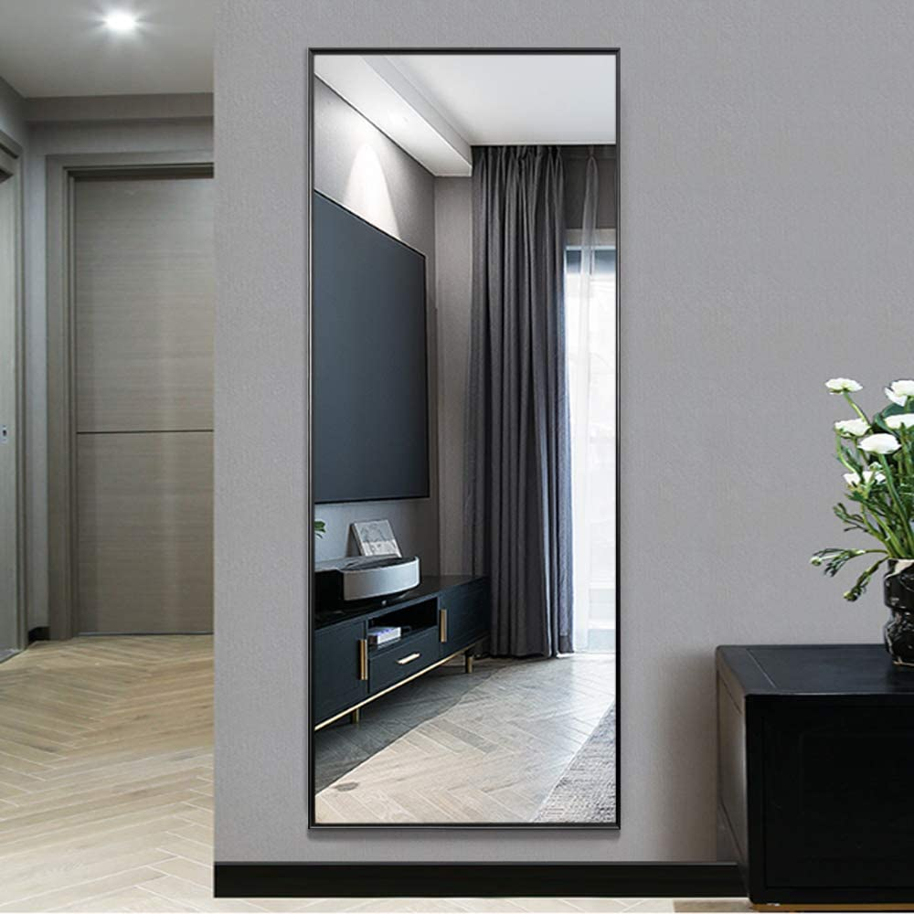 "NeuType Full Length Mirror Standing Hanging or Leaning Against Wall, Large Rectangle Bedroom Mirror Floor Mirror Dressing Mirror Wall-Mounted Mirror, Aluminum Alloy Thin Frame, Black, 65""x22"""