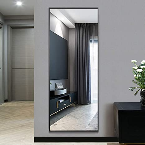 Neutype Full Length Mirror Standing Hanging Or Leaning Against Wall Large Rectangle Bedroom Mirror Floor Mirror Dressing Mirror Wall Mounted Mirror Aluminum Alloy Thin Frame Black 65 X22 Furniture Decor
