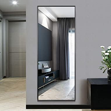 NeuType Full Length Mirror Standing Hanging or Leaning Against Wall, Large Rectangle Bedroom Mirror Floor Mirror Dressing Mirror Wall-Mounted Mirror, Aluminum Alloy Thin Frame, Black, 65 x22