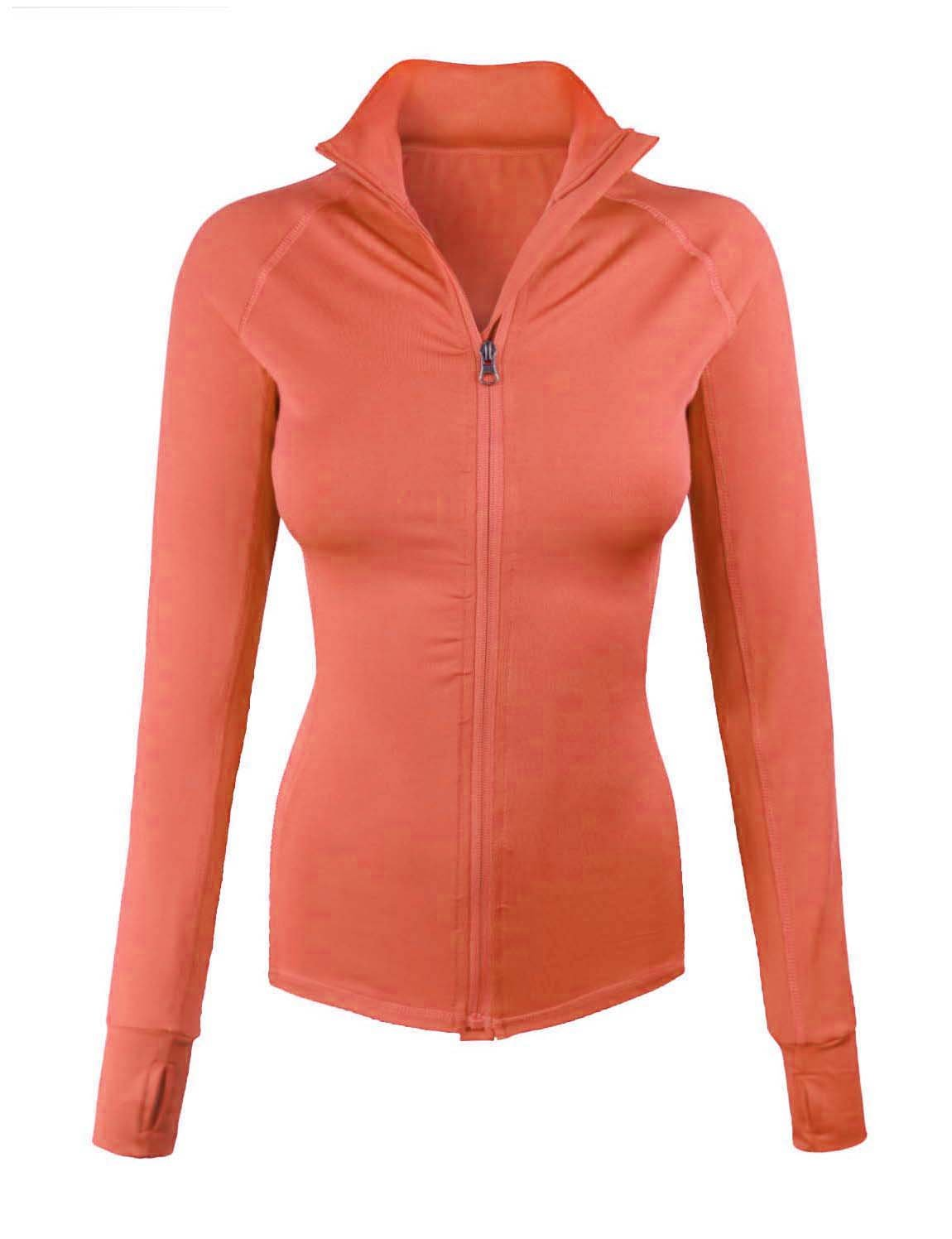 makeitmint Women's Comfy Zip Up Stretchy Work Out Track Jacket w/ Back Pocket SMALL YJZ0002_02DROSE