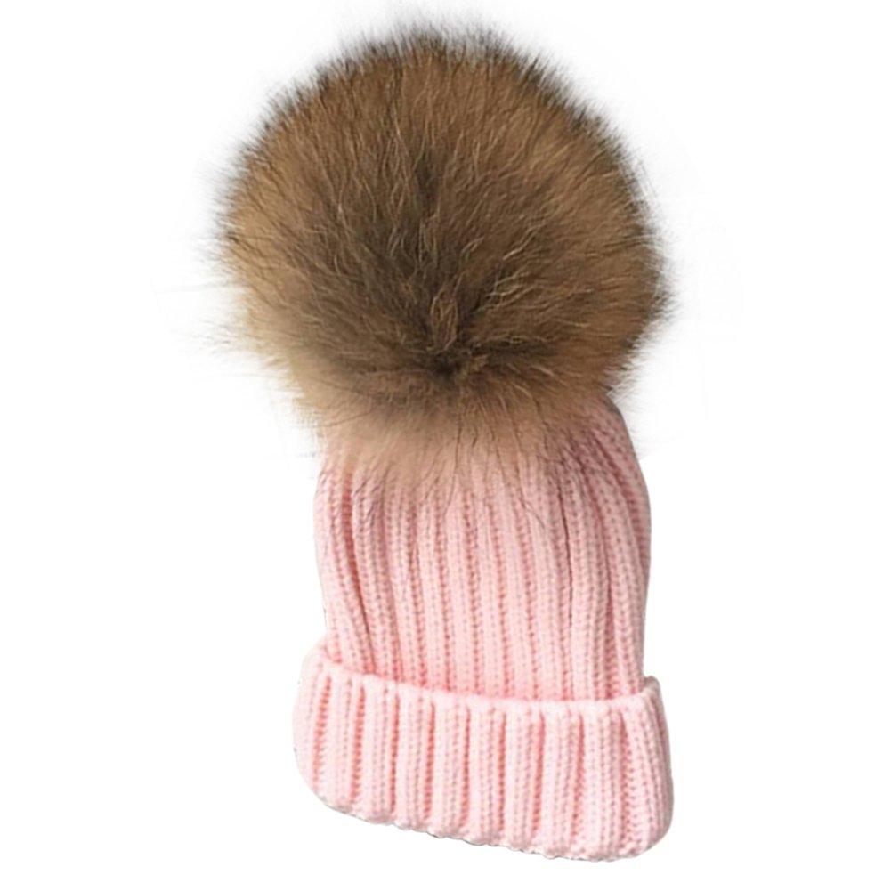 ddb6432d8cea1 Faux Fur Pom Pom Boys Beanie Hat, Bonice Toddlers Winter Bobble Hat Caps  Detachable Pompom Kids Unisex Cozy Warm Soft Fall Knit Cap Hat Skullies for  Babies ...