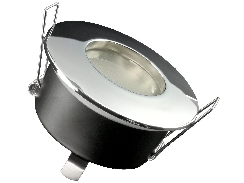 LED-Einbaustrahler Ultra flach RW-1 rund Edelstahl gebürstet für Bad und Feuchträume IP-65 inkl. 5W LED Modul warmweiß 2700K für 230V ohne Trafo - Tolles Design, Leuchtmittel wechselbar, schmutz- und wasserfest [Energieklasse A+] SSC-LUXon