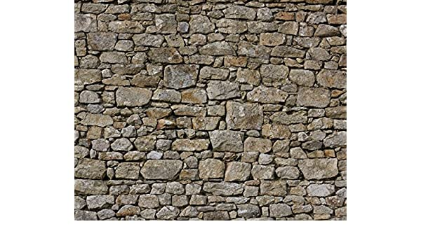 JP London Heavyweight Non Woven Art Prepasted Removable Mural Hand Made English Stone Wall Highland Cow Frence at 48in high x 36in Wide PMURLT2556 48 x 36