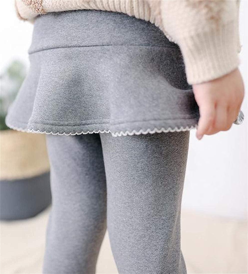 Joe Wenko Girls Elastic Waist Warm Winter Culottes Fake Two Fleece Pants