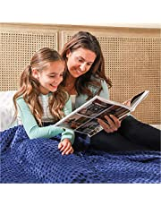 """7 lb kids Weighted Blanket   41""""x60""""   Advanced Nano-Glass Beads Heavy Blanket Perfect for Children from 56-84 lb   Warming & Cooling Comforter with 100% Dinosaur Printed Cotton & Navy Sensory Minky"""