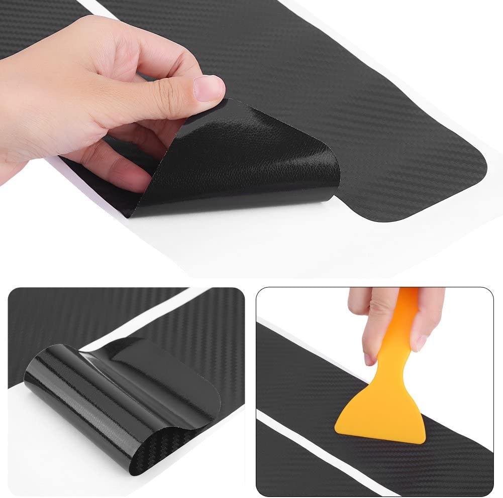 4pcs Universal Carbon Fiber Anti Scratch Car Door Sill Sticker Scuff Plate Cover Panel Step Protector Carbon Fiber Texture Door Sill Protector