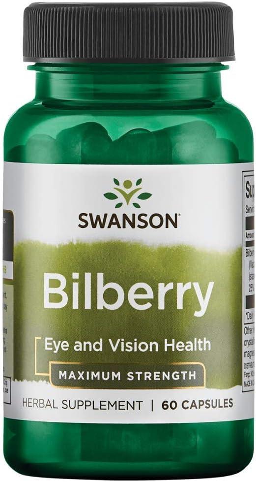 Swanson Maximum Strength Bilberry 250 Milligrams 60 Capsules