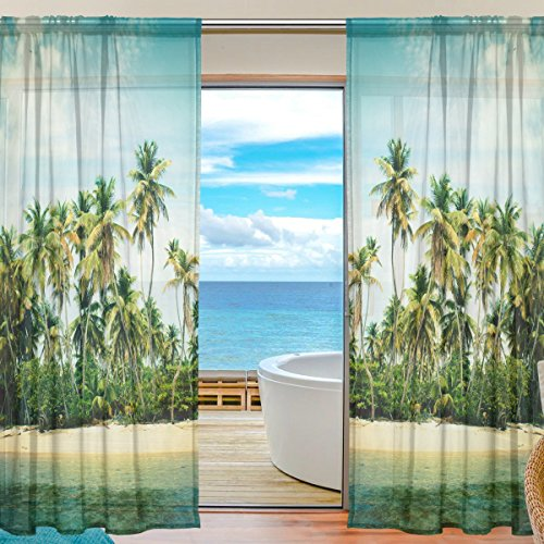 Tropical Beach Palm Trees Sheer Curtain for Living Room Bedroom,55 x 84 Inches Long,Green,Window Treatments,Rod Pocket,Polyester Fabric,Set of 2 Panels