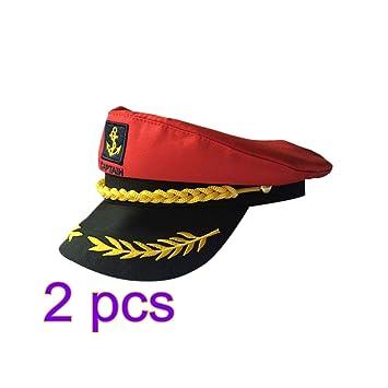 Amosfun Sombrero de capitán de 2 Piezas Ajustable en yate Gorra de ...