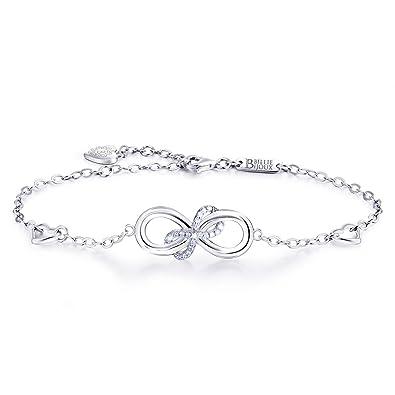 925 Sterling Silver Infinity Endless Love Heart Symbol Charm Hand Chain Adjustable Bracelet for Women 3eQRLE