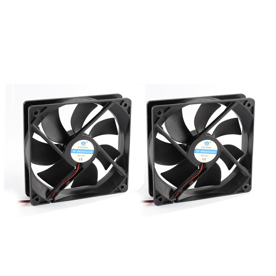 Uxcell 2pcs 12V 2-Wired Black Plastic 7 Fans DC Brushless Axial Cooling Fan Heat Sink Cooler, 12 x 2.5 cm